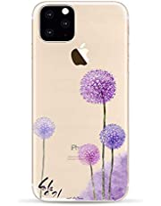 CrazyLemon Case for iPhone 12 Pro, Clear Colorful Beautiful Flowers Pattern Ultra Slim Soft Flexible Transparent TPU Durable Shockproof Protective Back Cover - Purple Dandelion