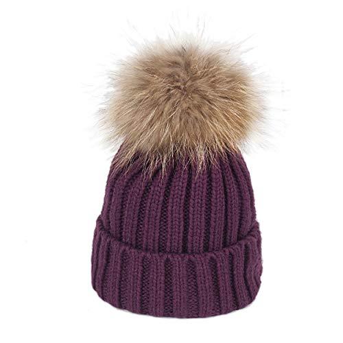 Women's Winter Hand Knit Visor Beanie Hat Fluffy Fur Pom Pom Hat Stylish Ski Cap Adult Purple