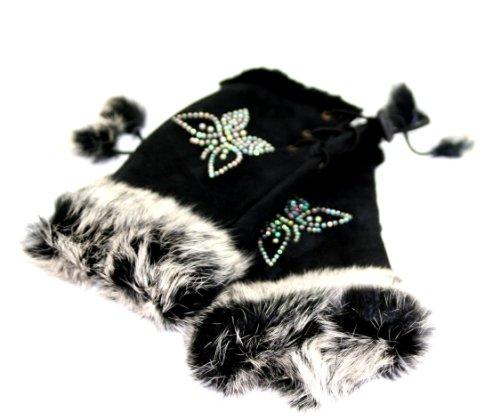 Gants mitaines d'hiver noirs avec un motif papillon en strass et avec de la fourrure sur le rebord