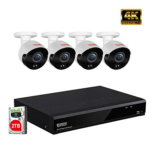 Tonton Expandable 5MP Home Security Camera System,8-Channel Ultra HD 4K 8MP DVR Recorder with 2TB HDD,4PCS 5MP Outdoor Bullet Cameras,Smart Motion Detection,Heat PIR Sensor,Night Vision up to 100ft
