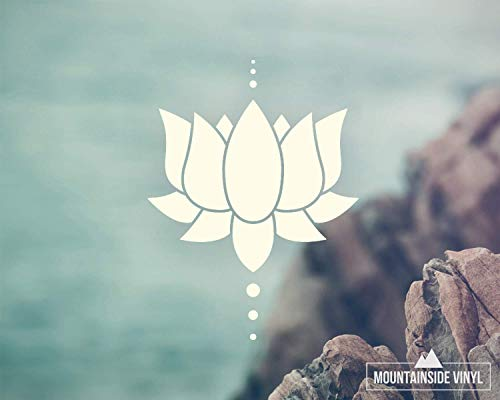 Lotus Flower Vinyl Decal - Yoga Stickers, Floral Stickers, Mirror Decal, Spiritual Gifts for Women, Flower Car Decals, Namaste Water Bottle Stickers