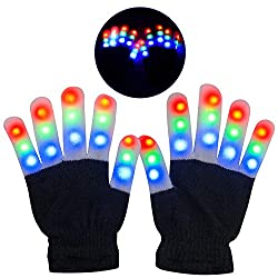 Light Up Black Gloves With 3 Colors 6 Modes Flashing