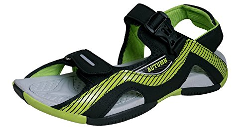 Campus Men s Black and Green Synthetic Sandals   Floaters  (2K-AUTUMNBLK-PGRN-10) - (10 UK)  Buy Online at Low Prices in India -  Amazon.in fbbcf20e796e