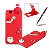 TPU Case for Xiaomi Redmi 5X,Soft Rubber Cover for Xiaomi Redmi 5X,Herzzer Ultra Slim Stylish 3D Christmas Santa Claus Series Design Scratch Resistant Shock Absorbing Flexible Silicone Back Case - Red
