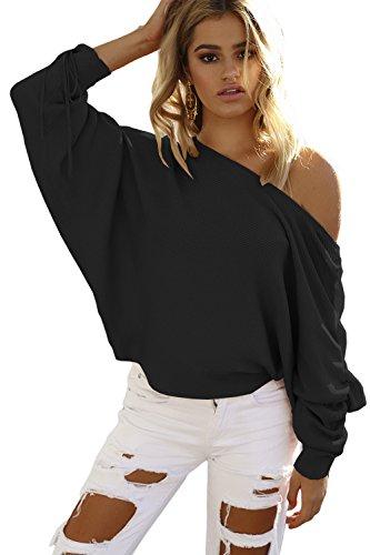 Las Mujeres Elegantes Alas De Murciélago De Manga Larga Pullover Sweater Knit Jumper Vendaje De Hombro Black