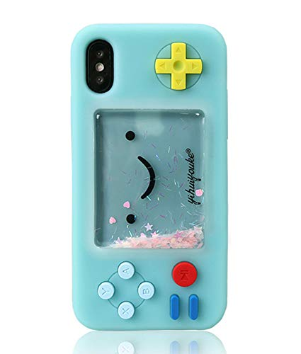 UnnFiko Squishy 3D Cartoon Game Case Compatible with iPhone XR, Creative Liquid Stars Funny Play Case Soft Rubber Protective Cover for Girls Women (Blue, iPhone XR)