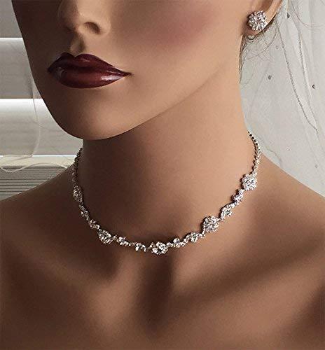 Amazon.com  Silver Bridesmaid Crystal Backdrop Choker Earring Wedding  Jewelry Set  Handmade b2b698d7307a
