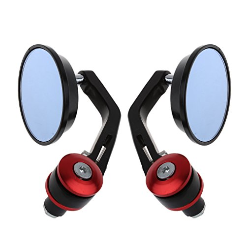 Bottone 7/8″ 22mm Motorcycle Handlebar End Mirrors Motorbike Aluminum Rearview Mirrors Side Mirrors – 1 Pair (Red)