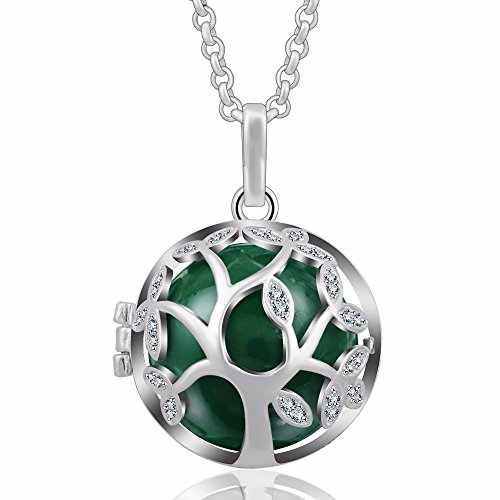 EUDORA Tree of Life 20mm Czech Rhinestuds Harmony Ball Pendant Necklace Angel Chime Caller,30