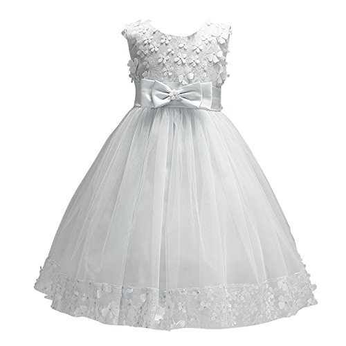 Acecharming Baby Girl Flower Lace Hemline Wedding Party Ball Gown Dress(2-10 Years -