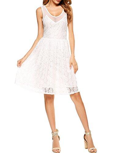 V Floral Neckline Dress Line Cocktail Lace Women's White A Sleeveless Party Beyove f5qOpYyTB6