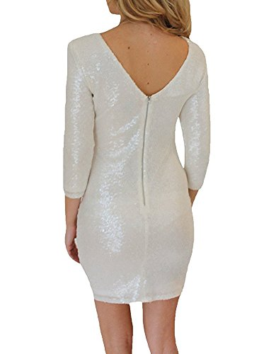 Vestito Scollo Donna da Abito Dress Cocktail Maniche A Matita Sera Fit Paillettes Lunghe Mini V Slim Vestito Bianco Bodycon wC0H6q