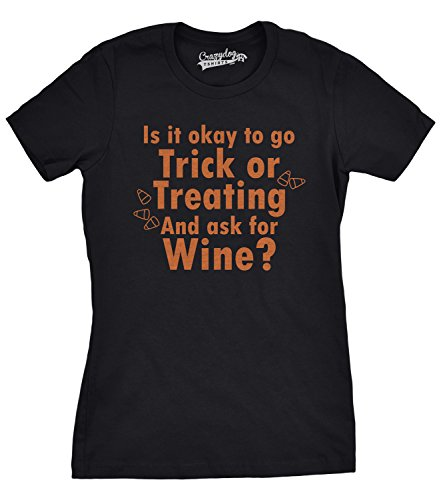 Women's Ask For Wine When You're Trick Or Treating T Shirt Funny Halloween Tee (black) (Funny Halloween Jokes For Trick Or Treating)
