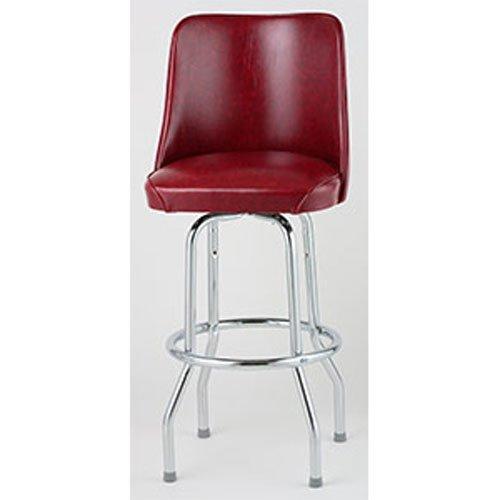 (Bucket Seat Bar Stool, Single Ring Chrome Frame, (ROY 7721 CRM) 2 KD Crimson, Royal Industries)