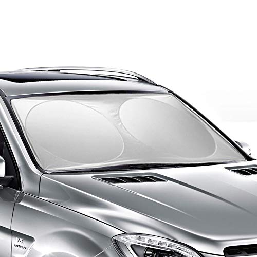 (Ohuhu Windshield Sun Shade, Auto Car Sun Shade for Windshield Sunshade Sun Visor for Car Windshield Cover 63 X 33.86 Inches)