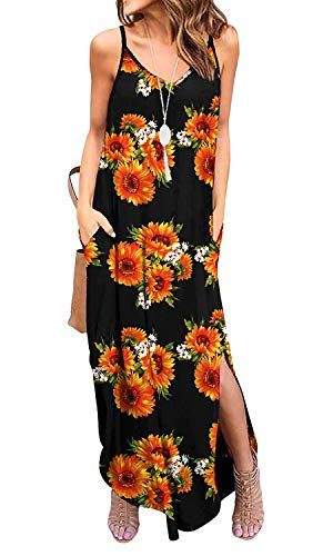 Silvous Women's V-Neck Floral Print Spaghetti Strap Boho Long Maxi Dresses (CamiSunflower XL) (Print T-shirt Wrap)
