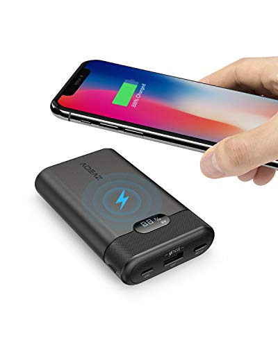 AIDEAZ Wireless Power Bank Portable Charger 10000mAh, LCD Display, Ultra-Compact, High-Speed Charge 18W Power Delivery Compatible with iPhone, Samsung Galaxy and More (for Quick Charge Devices)