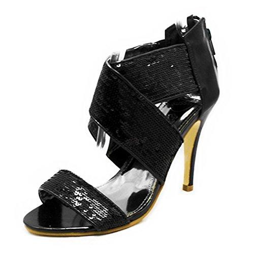 alto zapatos de lentejuelas con Las de tacón de tobillo los correa cruzar señoras Black w8nxgCxqZ