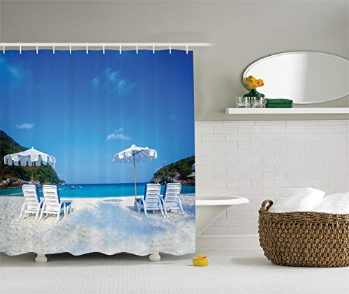 Ambesonne Seaside Decor Collection, Seaside Hills Sandy Beach with Chairs Umbrellas Facing Sea Photography, Polyester Fabric Bathroom Shower Curtain, 84 Inches Extra Long, Blue Ivory Green Aqua (Beach Beach Umbrella Sc Myrtle)