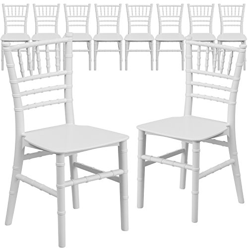 (Flash Furniture 10 Pk. Kids White Resin Chiavari Chair)