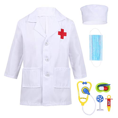 MSemis Unisex Kids Boys Girls Doctor Surgeon Halloween Cosplay Dress up Coat with Cap Mask Doctor Play Tools Set Outfits White 5-6 -