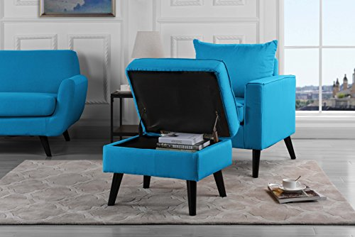 Mid-Century Modern Living Room Large Accent Chair with Footrest/Storage Ottoman (Sky Blue) (Reading Chair Ottoman)