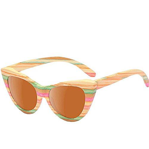 Sunglasses Marco De De Color Gafas Sol Rayas Color Sol Sol Gafas De De Eye De Polarized Driving Beach A Madera Protección Hecho De Sol Mano Gafas UV De C3 Gafas Cat Marrón Mujer rrwqda0