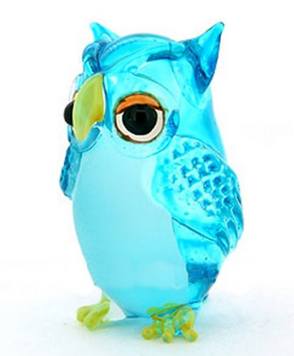 Lampwork COLLECTIBLE MINIATURE HAND BLOWN Art GLASS Single Owl Light Blue FIGURINE (Glass Owl Figurine)