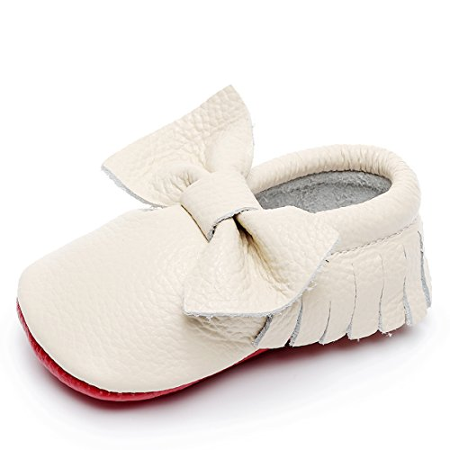 HONGTEYA Soft Sole Baby Moccasins - Premium Fringe Bow Leather Boys and Girls Shoes for Infant Toddlers(0-3 Months/US 3/4.13''/See Size Chart,Beige)