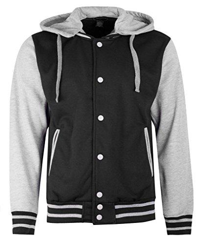 Letterman Varsity Baseball Hoodie Mens Jacket - Removable Hood (XL, Black/Gray)