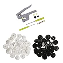 TopRay Snap Pliers Press Studs+ 150sets T5 White+150sets T5 Black Snaps Buttons, 20 Colors and Fasteners Installation Puncher Attachment Setting Tool for DIY Crafts