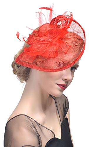 Obosoyo Sinamay Fascinator Hat Feather Mesh Net Veil Cocktail Party Hat Flower Derby Hat for Women (Red)