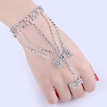452eb138e8 CTKcom Crystal Bracelets Rhinestone Hand Harness Bracelet Bangle Slave  Chain Link Finger Ring Bracelet Wedding Jewelry For Women Girl Bride,Silver  Bow: ...