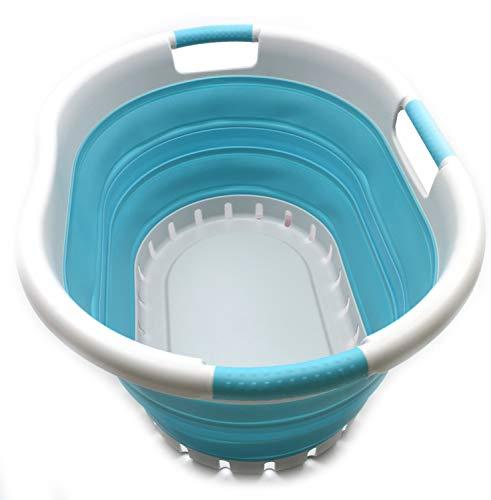 SAMMART Collapsible Plastic Laundry Basket - Foldable Pop Up Storage Container/Organizer - Portable Washing Tub - Space Saving Hamper/Basket (3 Handled Oval, Grey/Bright Blue) ()