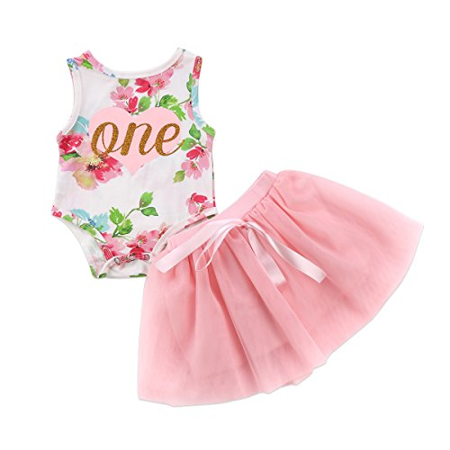 Baby Girls' 1st Birthday Tutu Dress Sleeveless Floral Romper Top Lace Skirt Clothes Easter Outfit 2Pcs (Pink, 12-18 Months)