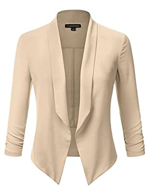 JJ Perfection Women's Texture Woven Chiffon Ruched Sleeve Open-Front Blazer