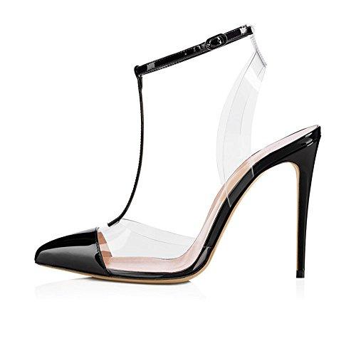 La Cour Orteil De Talon Bride Sandales Pointue sangle T Cheville Chaussures Boucle Ubeauty Arrière Femmes Des De Bride Noir De À Chaussures Haut OqSwIa
