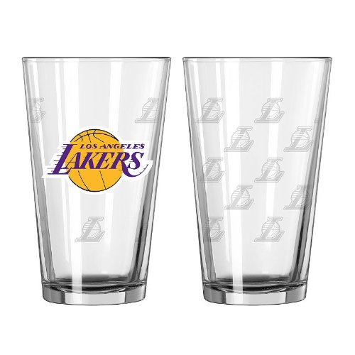 NBA Los Angeles Lakers Satin Etch Pint, 16-ounce, (Nba Basketball Beer)