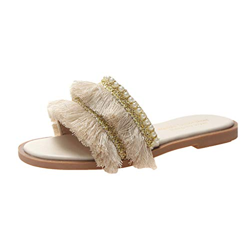 LIM&Shop Women's Tassels Slippers Fringed Pearl Sandals Summer Beach Flip Flop Outdoor Slip On Strapless Wedding Shoes Beige from LIM&SHOP-Sandals & Sneakers