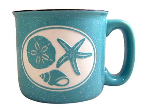 Camp Mug Aqua Sea Shells Ceramic Engraved Coffee Mug, 16 oz