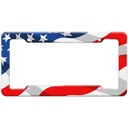 United License Plate - Graphics and More Blank United States Patriotic Flag Pattern License Plate Frame
