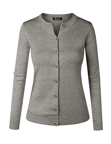 BILY Women's Unique Button Long Sleeve Soft Knit Cardigan Sweater Heather Grey 2 Medium