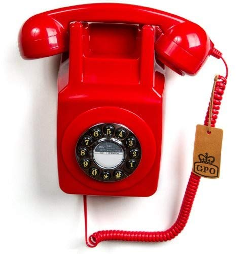 (GPO 746 1970's Retro Wall Corded Rotary Dial Style Telephone in Red - Boxed)