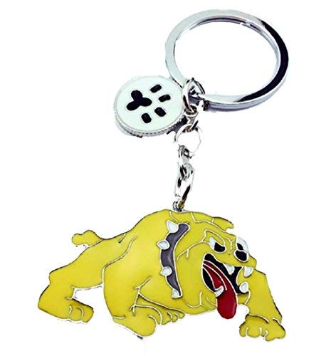 (Fierce & Protective Yellow Enamel Bull Dog Key Chain Looks Like The Tasmanian Devil Cute & Comical Gift for The Bulldog Mom:)