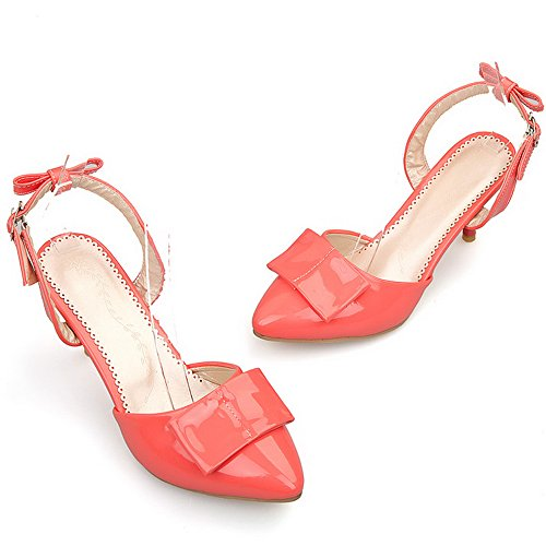 with Fashion Extra Sandals Bowtie High Patent Heel Size Big LongFengMa Pink Women 56qYFUU