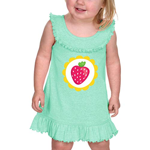 Cute Rascals Pink Strawberry Yellow Circle Taped Neck Cotton/Polyester Infant Girl Ruffle Tank Dress - Ice Green, 6 Months