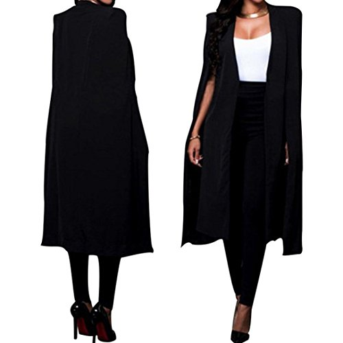 Hiahui Women Loose Long Cloak Blazer Coat Cape Cardigan Jacket Slim Designed Unique Style High Quality Solid Coat Black