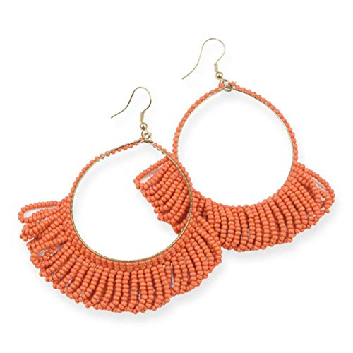 Glass Seed Bead Earrings - INK+ALLOY Women's Fringe Hoop Glass Seed Bead Earrings, Coral - 3.5 Inch - Handmade Beaded Tassel Boho Style Dangle Earrings - In Organza Gift Bag