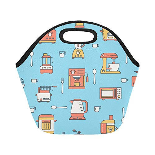 Insulated Neoprene Lunch Bag Coffee Machine Tool Hand Drawn Large Size Reusable Thermal Thick Lunch Tote Bags For Lunch Boxes For Outdoors,work, Office, School