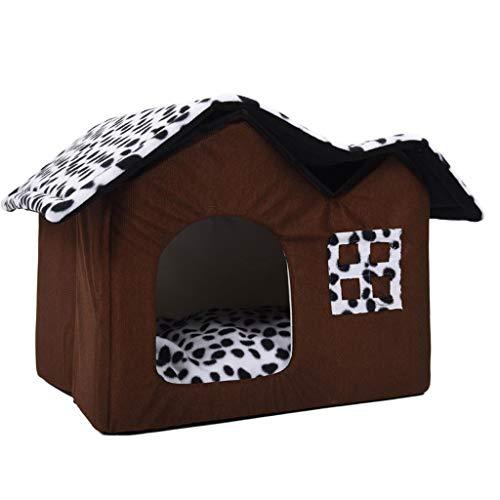 Casa de Mascotas Habitación Doble para Perros Cama de Perro marrón Casa de Mascotas Doble Casa de Perro Suave y cálido 55...